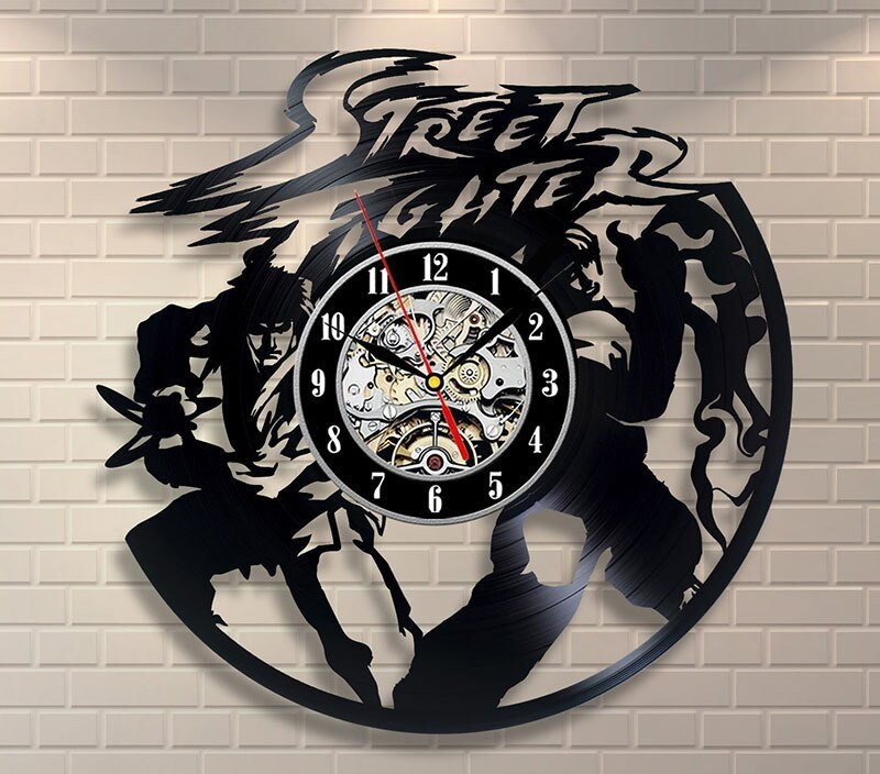 2019 New Arrival New 12 Mm Sheet Study Wandklok Saat Free Shipping Street Fighter Designs Home Design Room Art Vinyl Wall Clock