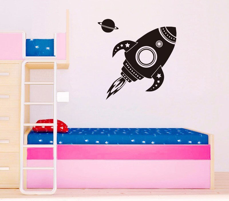 Cartoon Rocketship Vinyl Wall Stickers Removable Decor Boys Kids Room Sofa Background Decal Home Design Wallpaper Mural SA413