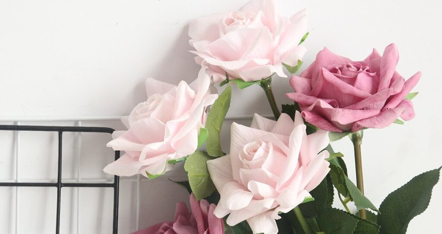 Flannel touch simulation feel rose flowers for wedding party home design bouquet decoration Home garden decoration hotsale Feb15