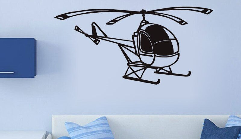 Small Helicopter Transport Wall Stickers Removable Living Room Vinyl Art Decal Home Design Wallpaper High Quality Mural SA426