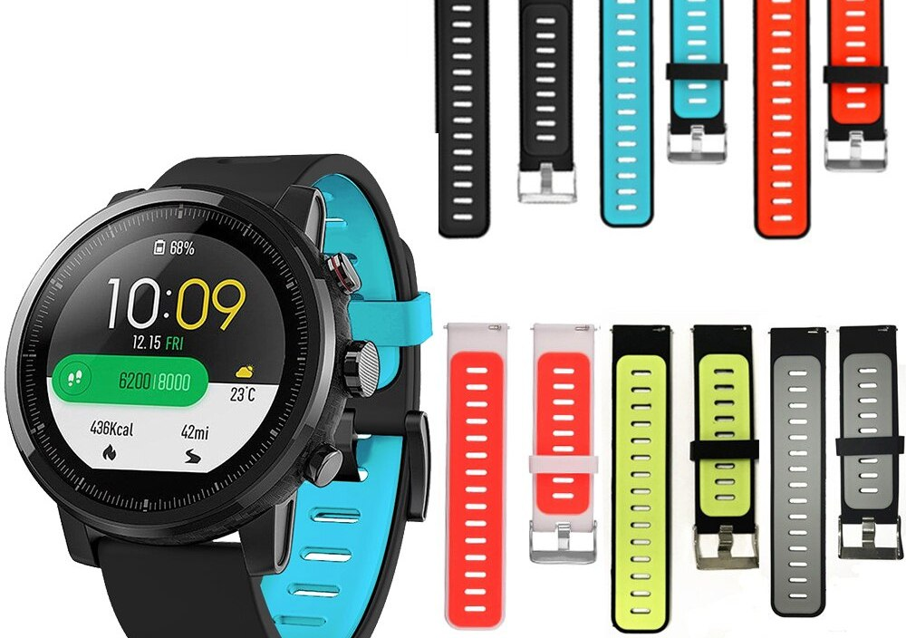 watch band For original Huami Amazfit Stratos 2 2s Pace 22mm DoubleColor Silicone bracelet strap For Huawei Watch GT smart watch