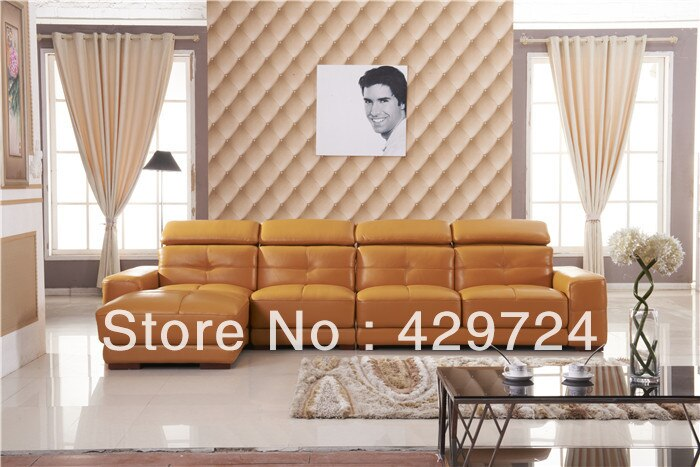 Free Shipping Door to Door Service 2013 latest home designs Moden Top Grain leather Corner Sofa Set Home Furniture Set  AA010