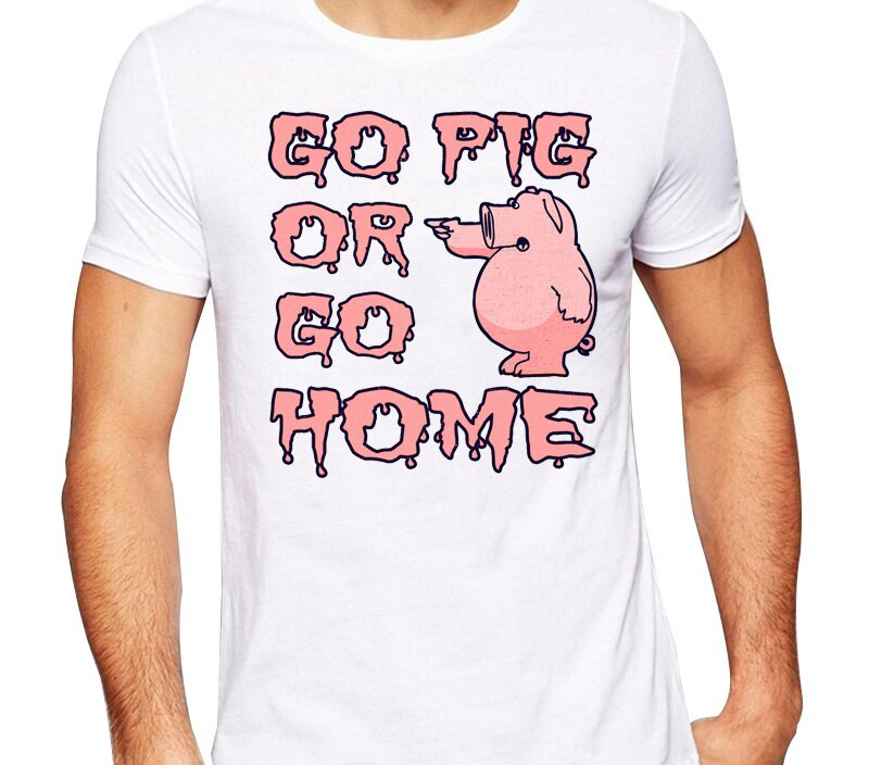 Men's 2016 Funny Go Pig Or Go Home Design T Shirt High Quality Cool Tops Hipster Summer Tees