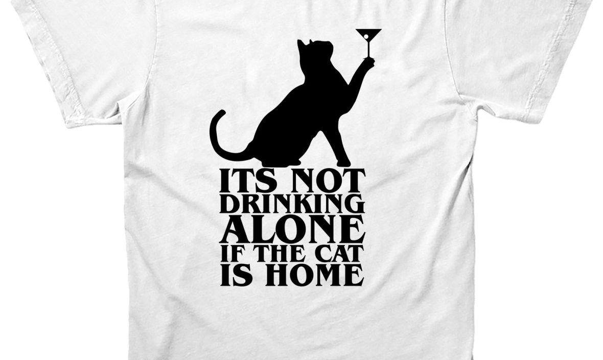 Drinking Kitten T-shirt, Its Not Drinking Along If Kitten Is Home Design Tee Top Black Cotton T Shirt Fashion New Arrival Simple