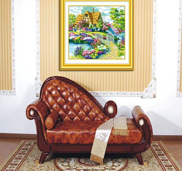 New arrival Handmade Needlework Cross Stitch Kit Precise Printed Beautiful Homes Design Cross-Stitching 54*43cm online wholesale