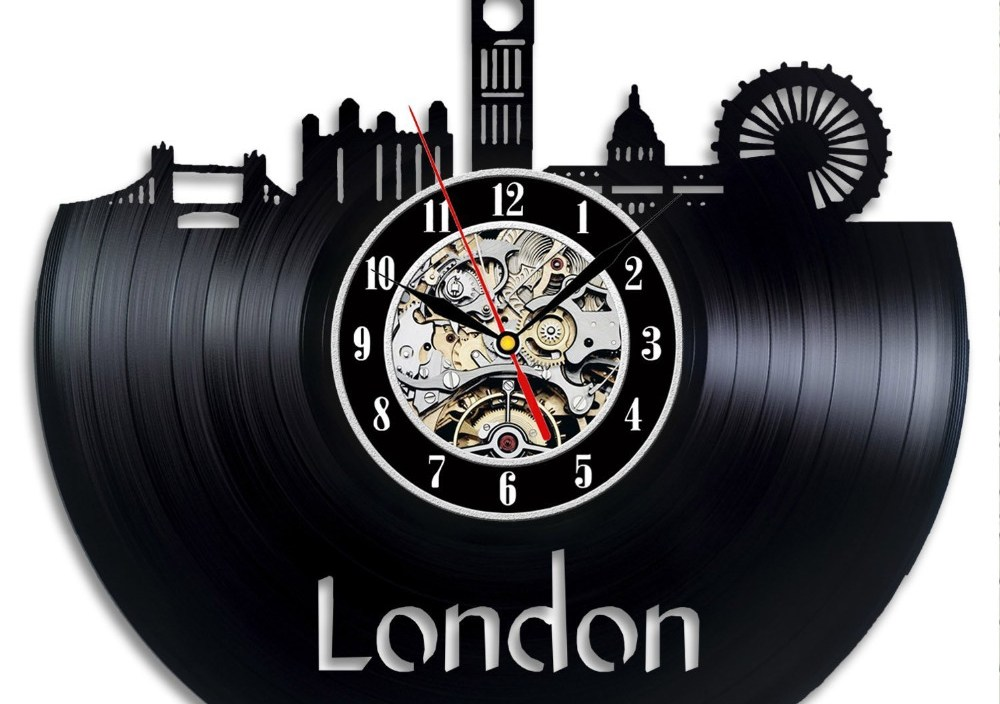 London Decor Vinyl Record Clock Wall Art Home Design