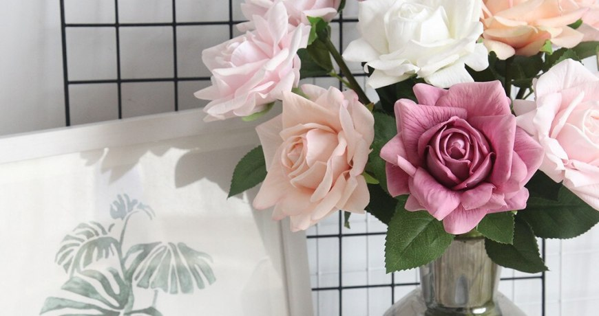 Artificial Flower Flannel Rose Flowers For Wedding Party Home Design Decoration Bouquet Mariage Fake Flower D9#
