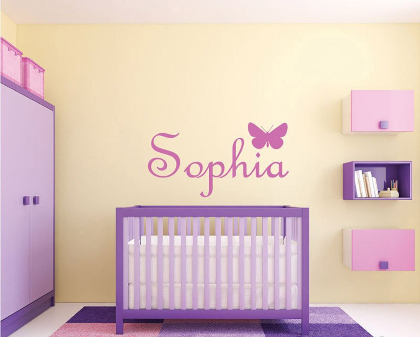 Customize Butterfly Monogram Name Wall Sticker, Girls Nursery Room Vinyl Wall Decal Bedroom Decoration Home Design Decor A913