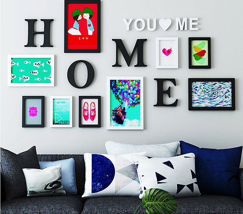 New Home Design Decoration 9pcs Photo Frame Sets For Wall, Wood Family Picture Frame Sets With Picture Card, marcos para fotos