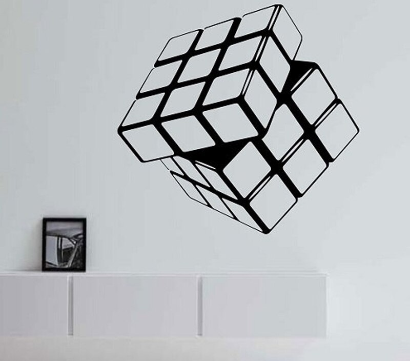 Rubik's Cube Vinyl Wall Decal Geometric Wall Stickers For Kids Rooms Living Room Home Design Decor Mural Vinilos Paredes A389