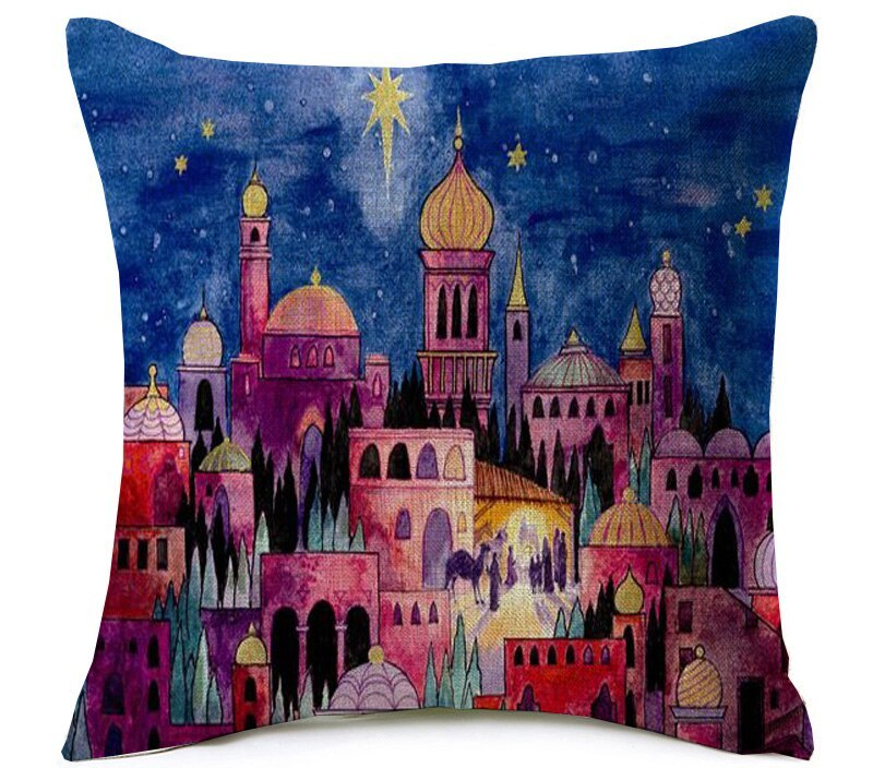 Ramadan Kareem Cushion Cover Watercolor Hamsa Hand Mosque Ramadan Decoration Thick Linen Cotton Pillow Covers Bedroom Decor