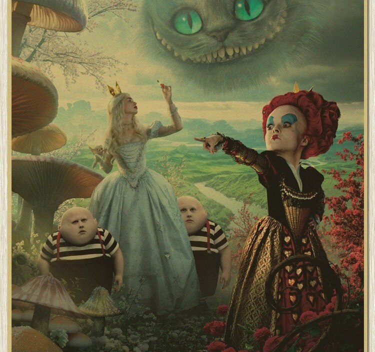 Vintage Alice in Wonderland Movies Retro Painting old Paper Poster Antique Film Wall Sticker Home Design
