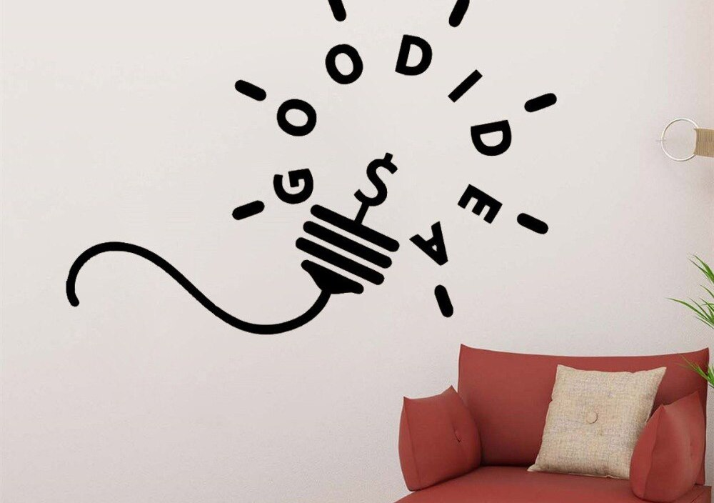 JOYRESIDE light bulb Quote Wall Good Idea Decals Motivation Vinyl Sticker Living Room Bedroom Interior Home Designs Mural A1469