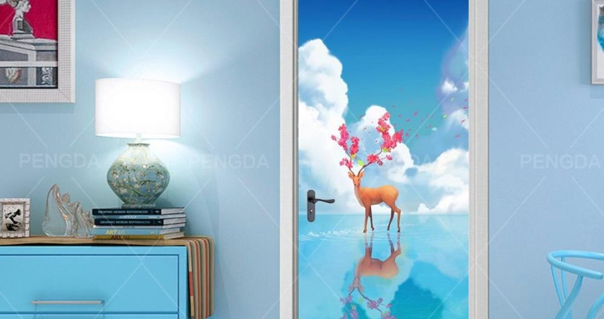 3d Door Sticker Self Adhesive Renew Decor Cartoon Girl Print Starry Sky Waterproof Wallpaper Deer Picture Home Design Renovation