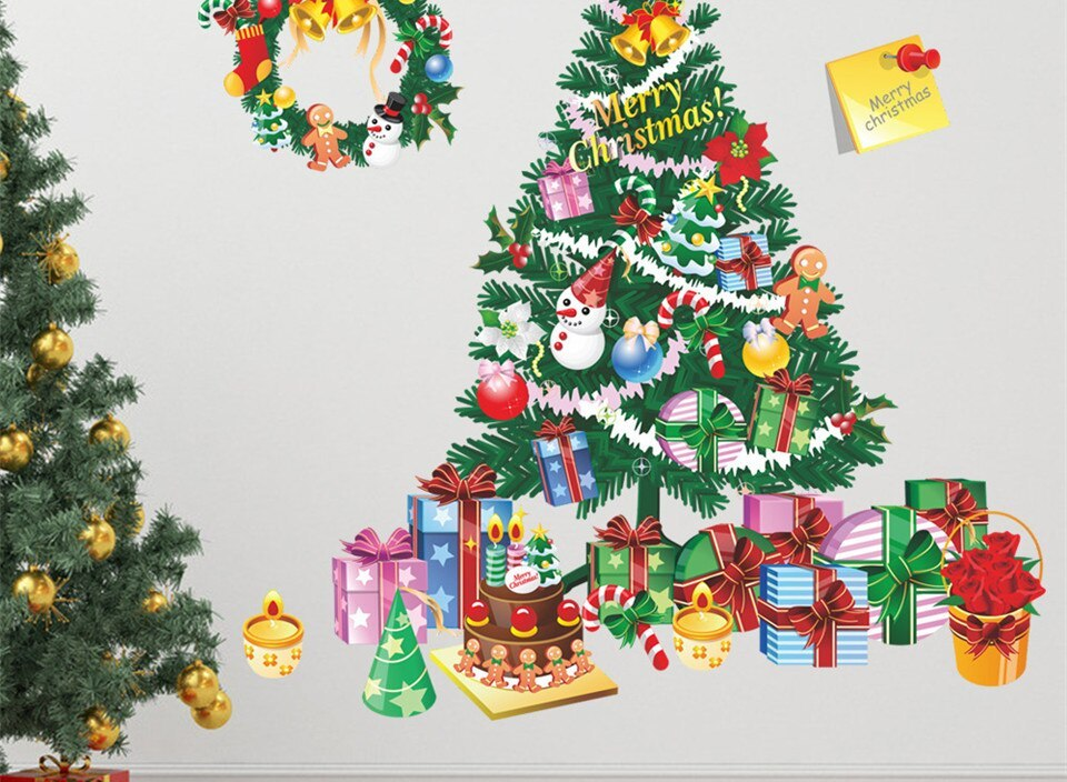 Christmas Tree Gifts Stickers on the Wall Mural Decals X mas Accessories Kids Room Nursery Decor Vinyl Wallpaper DIY Home Design