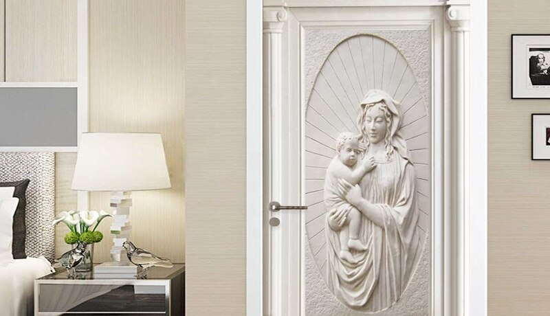 European Style 3D Relief Figure Gypsum Door Sticker Living Room Bedroom Home Design PVC Self-Adhesive Waterproof Door Decoration
