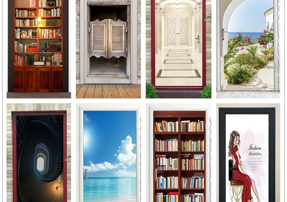 Custom Size Sea View 3D Door Sticker DIY Self Stick Wallpaper Sticker Doors Decorating Home Design Decor Waterproof Mural Decals