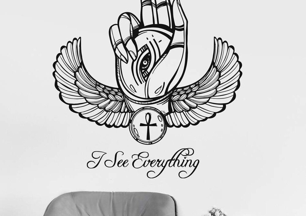 Wall Decal Sticker Ancient Egypt Eye of Horus Ra Hand Talisman Stickers Home Ornament Living Room Bedroom Self Adhesive D551