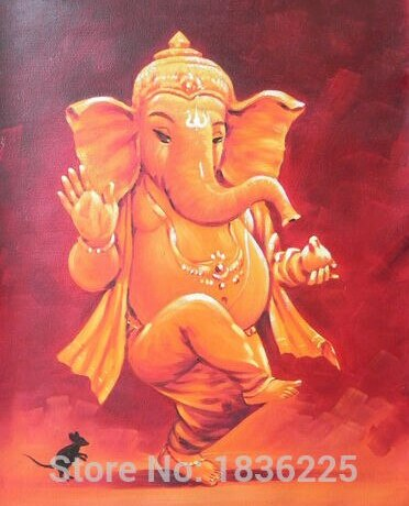 Wall Sticker Handmade Ganesh Oil Painting on Canvas for Wall Art Decoration decorative pillars for homes designer wall paper