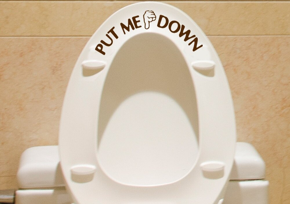 Gesture Hand Decal Funny Bathroom Toilet Seat Wall Sticker Sign for PUT ME DOWN bathroom sticker for Toilet home designe A3086