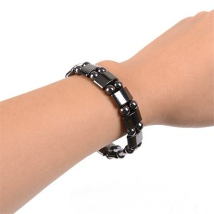 Weight Loss Round Black Stone Magnetic Therapy Bracelet For Women Men Health Care Magnetic Hematite Stretch Bracelets