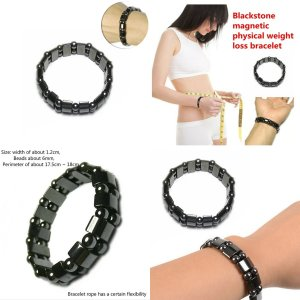 Weight Loss Round Black Stone Bracelets Health care Black healf moon magnetic black stone magnetic therapy slimming Bracelet