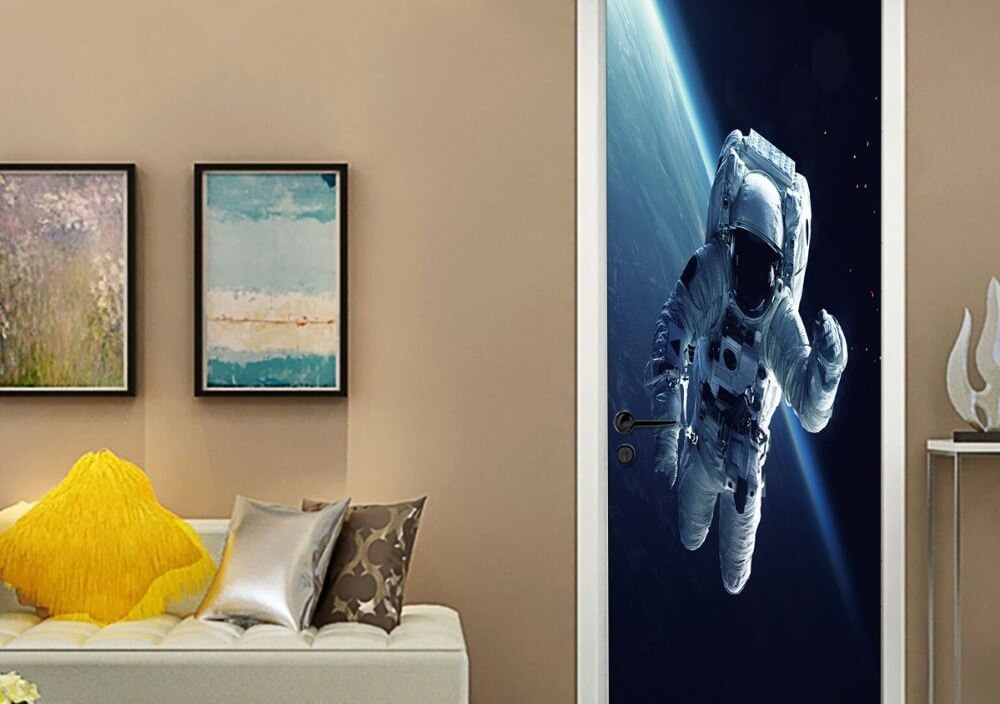 77*200 CM 3D Space Astronaut Door Sticker DIY Self Adhesive Vinyl Wallpaper For Livingroom Mural Home Design Decals Decor Poster