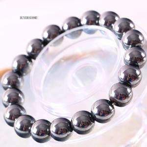Weight Loss Bangle Hematite 12MM Round Beads Stretch Bracelet For Men and Women Anti-Fatigue Magnetic Therapy Bracelets H391