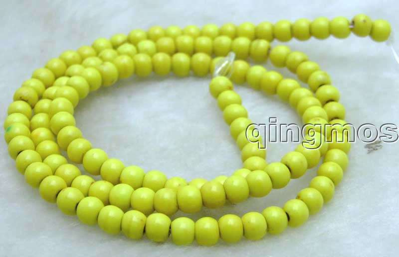 Small 4mm Round Yellow Stone beads strand 15″-los615