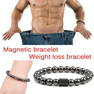 Weight Loss Stone Magnetic Therapy Slimming Bracelets Health Care Magnetic Hematite Stretch Beaded Bracelets for Men Women 1Pcs