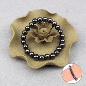 Weight Loss Unisex Round Black Stone Bracelet Health Care Magnetic Therapy Bracelet 8mm / 0.31in
