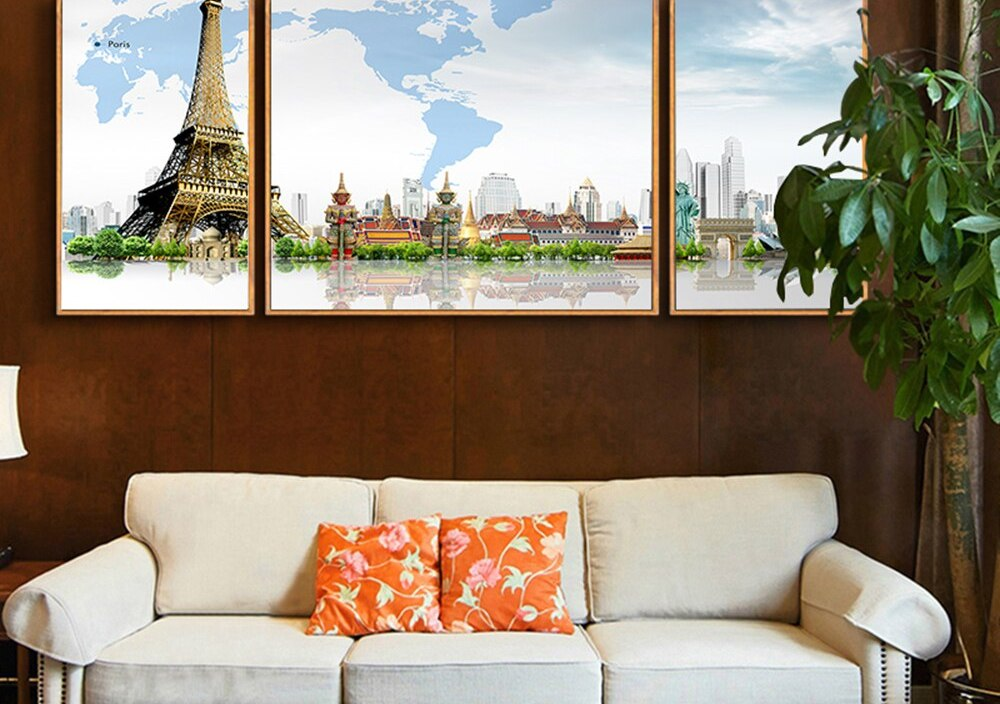 Nordic Creative World Map Scenic Spots Pictures For Home Design For Living Room Decoration With You