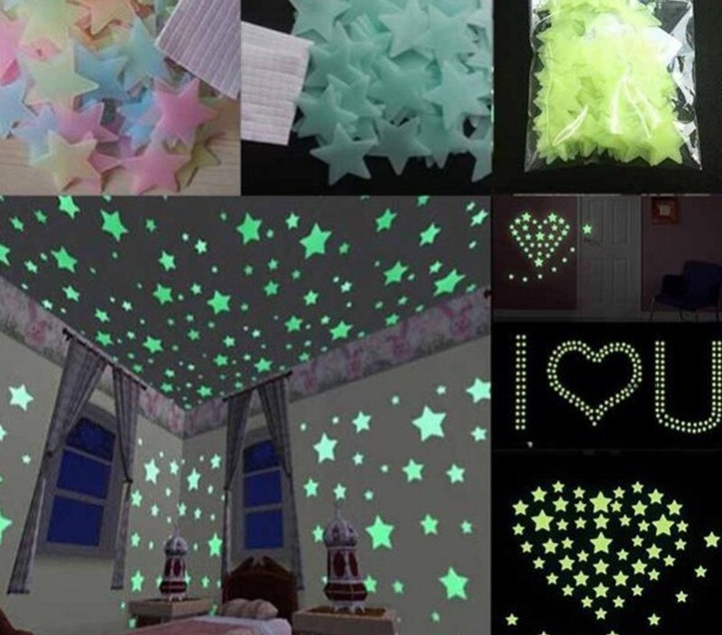 100pcs 3D Star Luminous Stickers Glow In The Dark Wall Decor Sticker Fluorescent for Baby Kids Room Bedroom Home Design Decals