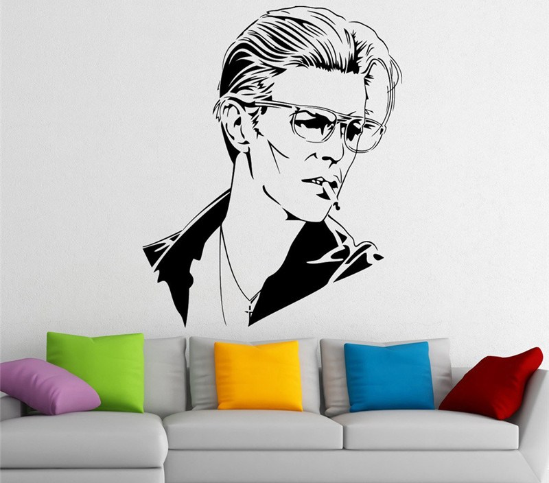 David Bowie Wall Decals Music Singer Stars Wall Stickers for Kids Room Home Design Vinyl Murals Art Poster Vinilos Paredes