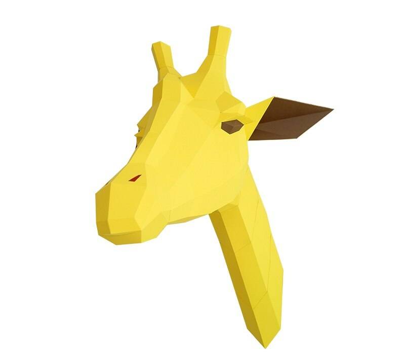 Giraffe 3D wall decorated with forest animal pendant bedroom children's room decorated home design paper art DIY kids room girls