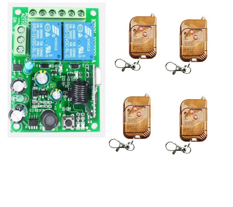 sale! Wireless Remote Control Switch AC 250V 110V 220V 2CH Relay Receiver Module and 3-4 pcs RF 433/315 Remote Controls