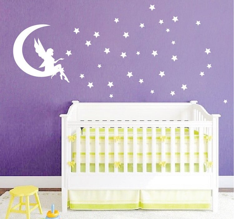 Fairy Vinyl Bedroom Wall Stickers With Star Wall Decals Home Design Decor Kids Babys Room Wallpaper Hot Sale Mural SA802