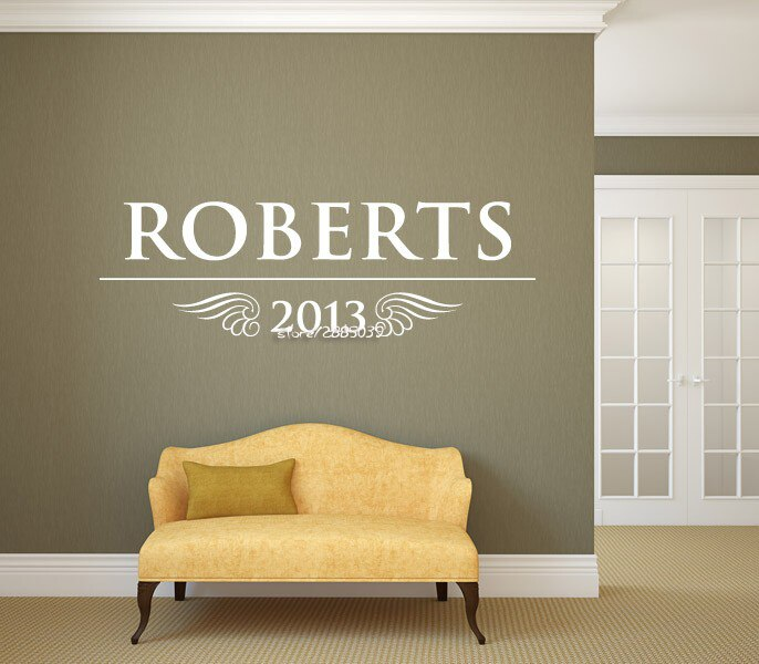 Family Name Date Wall Stickers Vinyl Removable Wall Decal Waterproof Home Design Wallpaper Creative Personalized Mural  SA623