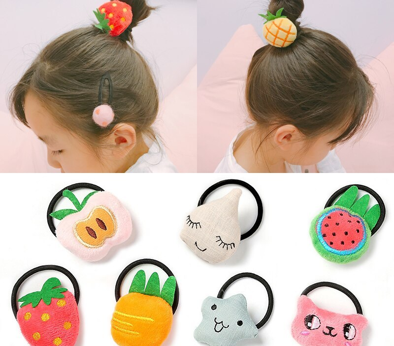 Sale 1PC Cute Fruit Cartoon Cute Hair Rope Kids Vegetables Elastic Women Hair Bands Sweet Hair Accessories