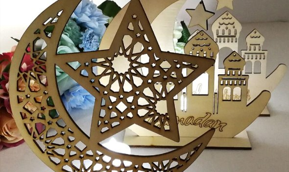 Ramadan Ornament Eid Mubarak Decoration Weeding Mosque Wooden Creative Muslim Wooden Plaque Islam DIY