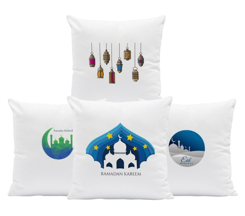 Ramadan Mubarak Pillow Case Blue Star Castle Silver Letter Green Geometric Lantern Sheep Cow Decoration Home Sofa Cushion Cover