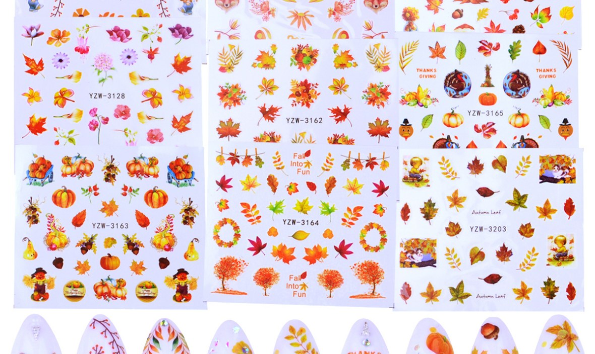 1 Sheet Fall Yellow Leaves Nail Design Water Transfer Nails Art Sticker Maple Leaf Nail Wraps Sticker Tips Manicure Autumn