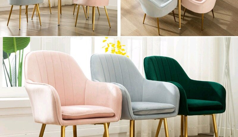 Nordic Ins Style Dining Chair Net Red Nail Makeup Chair Tea Coffee Chair Home Designer Wrought Iron Home Study Bedroom Chairs
