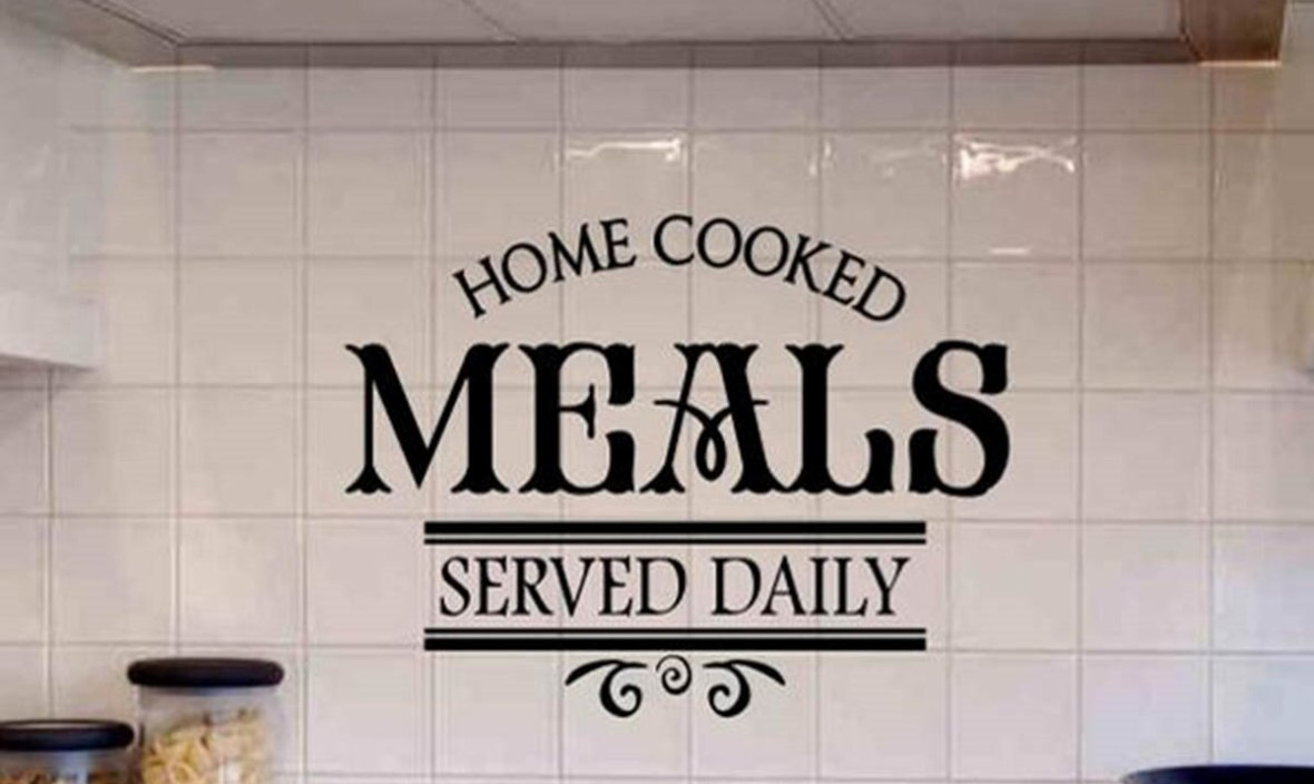 JOYRESIDE Meal Served Wall Decals Home Kitchen Wall Decor Serveed Daily Quotes Wall Stickers Home Design Wallpaper Kitchen WM297