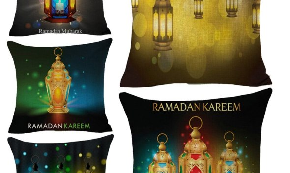 Ramadan karim lantern cushion pillowcase islamic magic lantern art cushion upholster sofa high quality linen-cotton cushion cove