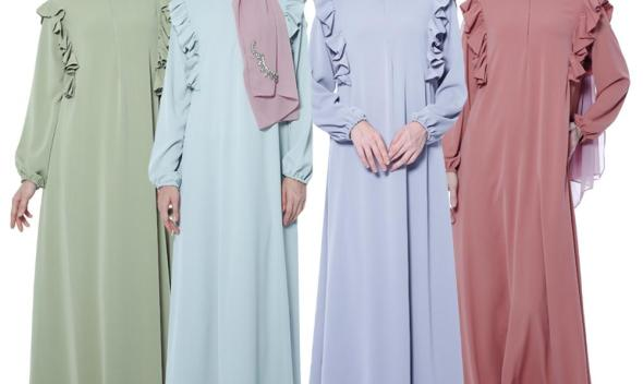 Ramadan Muslim Women Abaya Ruffles Long Sleeve Maxi Dress Robes Jilbab Zipper Cocktail Gown Loose Islamic Clothing Middle East