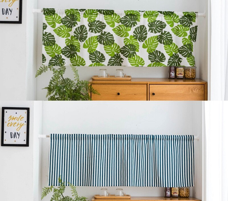 Home Designs Half Shade Curtain Wall to Wall Leaves/Stripes Printed Room Divider Curtains Kitchen Small Window Curtains