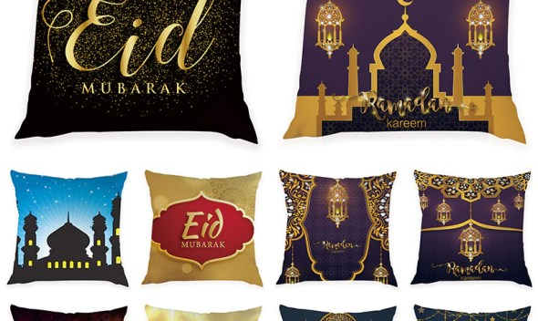 Ramadan Decoration For Home Eid Mubarak Decor 45*45Cm Pillow Cover Islam Ramadan Kareem Eid Mubarak Decor For Party Pillowcase