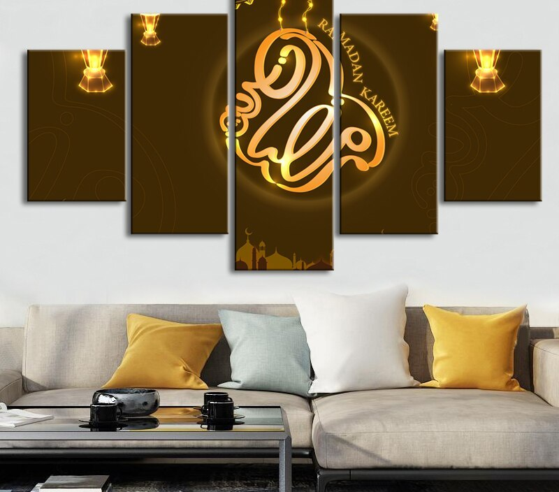 Ramadan Kareem Wall Art 5 Pieces Islamic Calligraphy Quotes Canvas Print Paintings Posters Wall Art Pictures Living Room Decor
