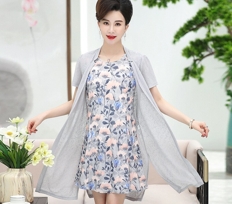 2019 Spring And Summer New Style WOMEN'S Elegant Kuotaitai High-End 40-Year-Old to 50 of Chiffon Suit Two-Piece Dress